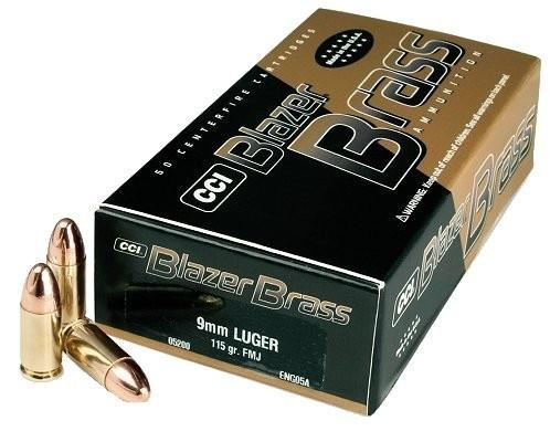 CCI Blazer Brass 9 mm 115Gr. FMJ (50 Rounds)