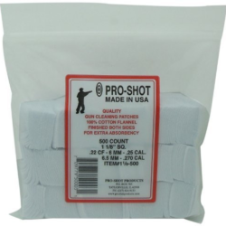 Pro Shot cotton cleaning patches (.22-.35 cal./6.5-.270 cal.) 500 count