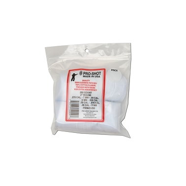 Pro Shot cotton cleaning patches-7mm-8mm (.30-.338) (.35-.38 cal.)