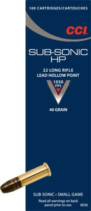 CCI Subsonic .22LR ammunition 40 GR.